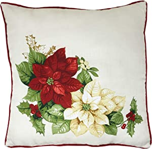 """Elrene Home Fashions Red and White Poinsettia Holiday Decorative Throw Pillow for Sofa Couch Christmas Décor, 18""""x18"""", Multi"""