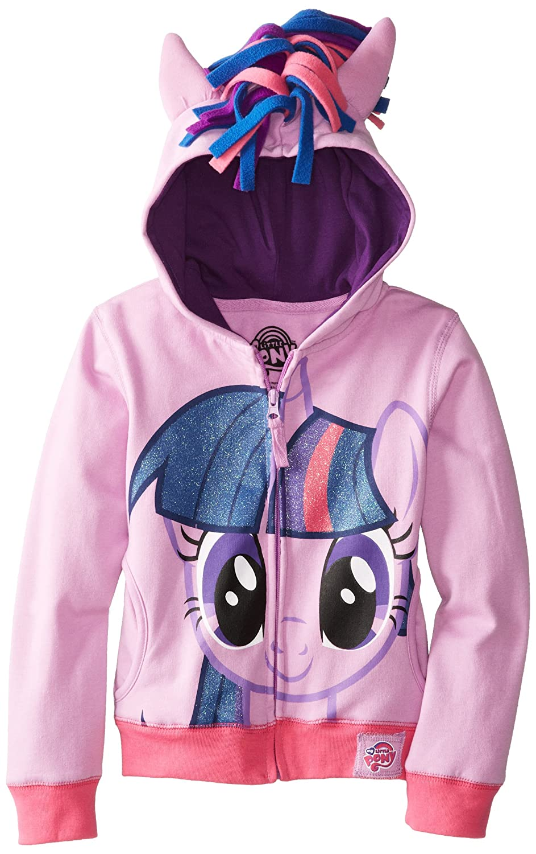 Girls 5//6 My Little Pony Twilight Sparkle Glitter Hair Girls Purple Hoodie