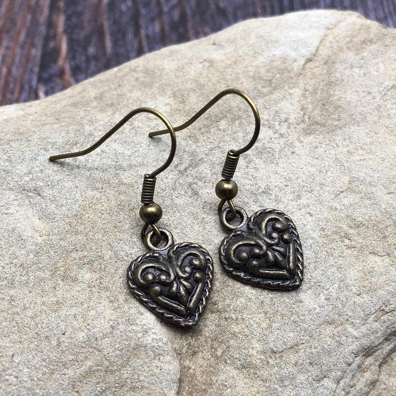 Heart Charm Earrings 31mm Ornate Antique Bronze Tone Charms on Nickel free Hooks