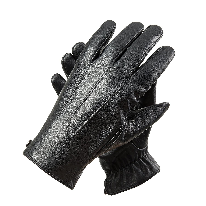 Men's touchscreen Geniune Leather Gloves Winter Warm Driving Cashmere Lining Fleece