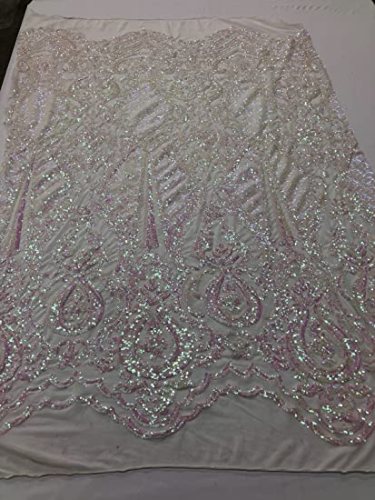 Amazon com: Iridescent Sequins 4 Way Stretch Embroided Lace Fabric
