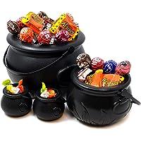JOYIN 4 stuks zwarte heksenketels met handgrepen, 20,3 cm decoratieve ketel voor snoep voor Halloween party decoratie…