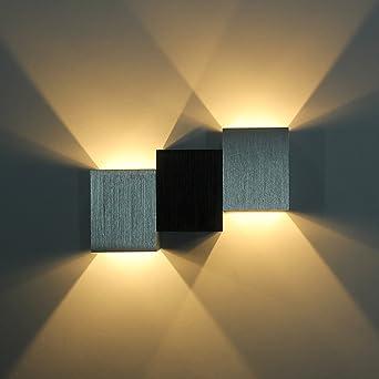 Amzdeal LED Wandleuchte Innen Aus Aluminium Warmweiß 6W