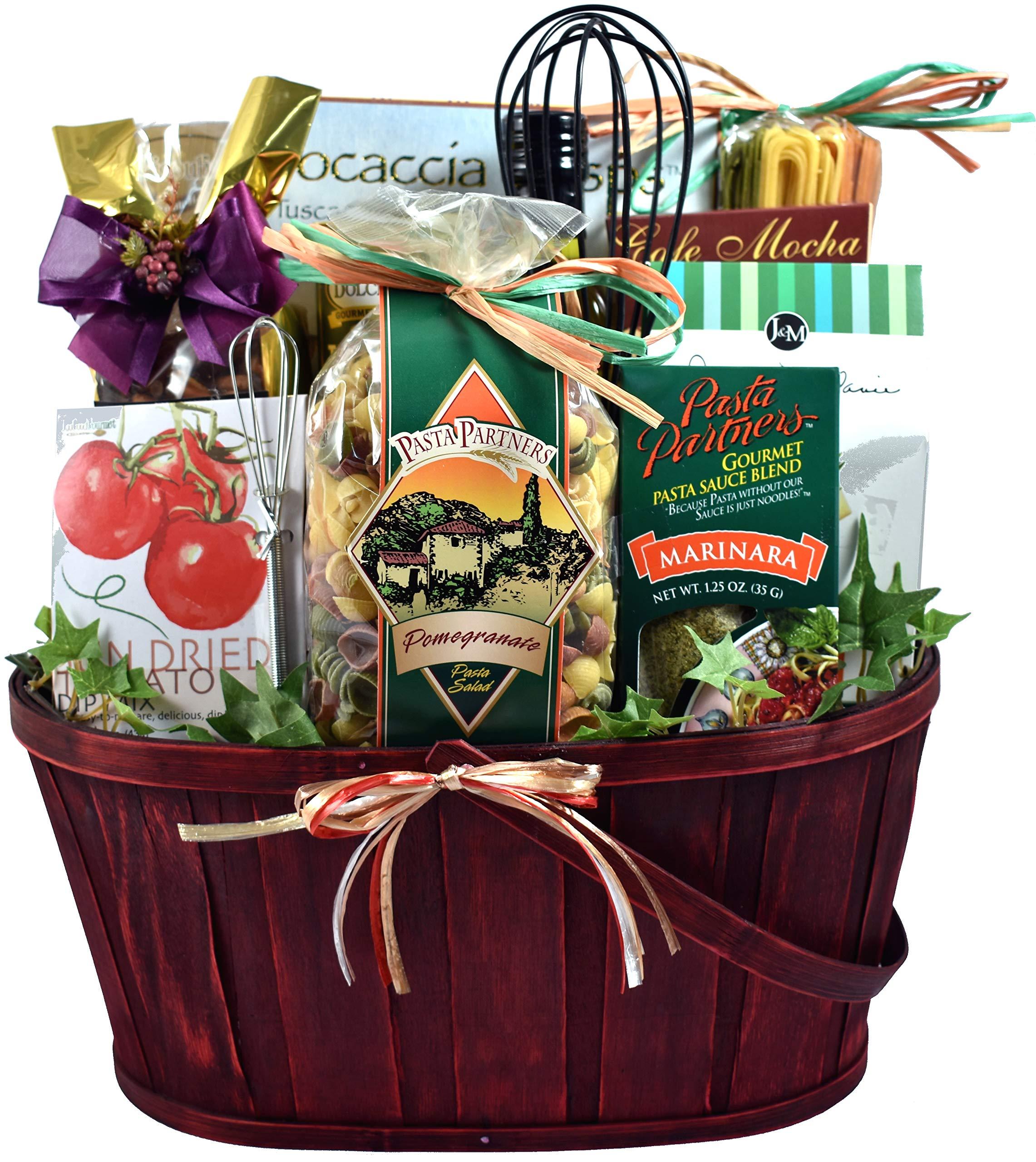 Italian Themed Dinner Gift Basket For Two - With Italian Pasta Salad, Handmade Tomato Basil Linguini, Snacks & Italian Dessert (7 lb)