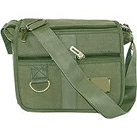 DAHSHA Stylish cotton sling cross body Travel Office Business Messenger one side shoulder bag for men women(Olive, 9.5x3.5x8.5 inch)