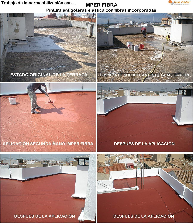 IMPER FIBRA de Tecno Prodist - 15 Litros (ROJO) Pintura Terrazas Impermeabilizante y elástica con Fibras Incorporadas - Buena Calidad - (A Rodillo o ...