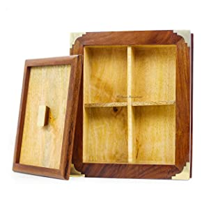 Wooden Gift Storage Box Container with 4 Compartments | Gift Decorative Ideas
