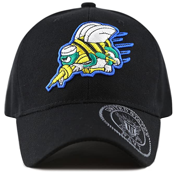 4fd381bc173 THE HAT DEPOT 1100 Official Licensed Seabees Can Do Baseball Military Cap  (Black-Seal