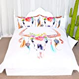3 Pieces Boho Feather Duvet Cover Set Colorful Floral Cow Skull Adorned with Feathers Hippie Bohemian Mandala Blanket Quilt Cover Bedspread Bedding Comforter Cover (Queen)
