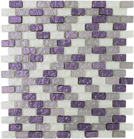 Amazon Com Tprng 01 Small Brick Pearl Look Purple Glass Mosaic Tile Backsplash 10 Sheets Home Kitchen