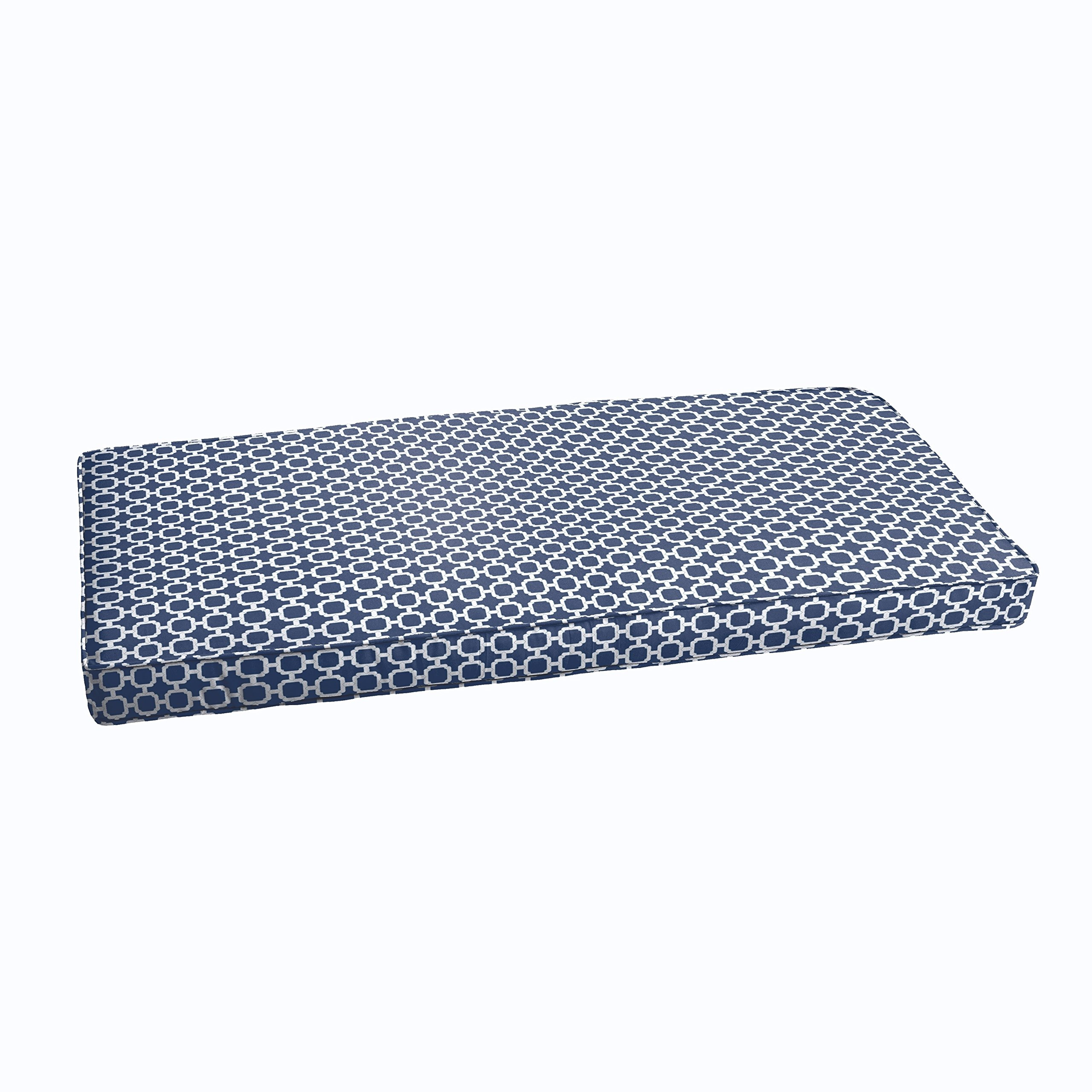 Mozaic Co Navy Chainlink Abstract Indoor/ Outdoor Corded Bench Cushion 60in x 19in x 3in by Mozaic Co