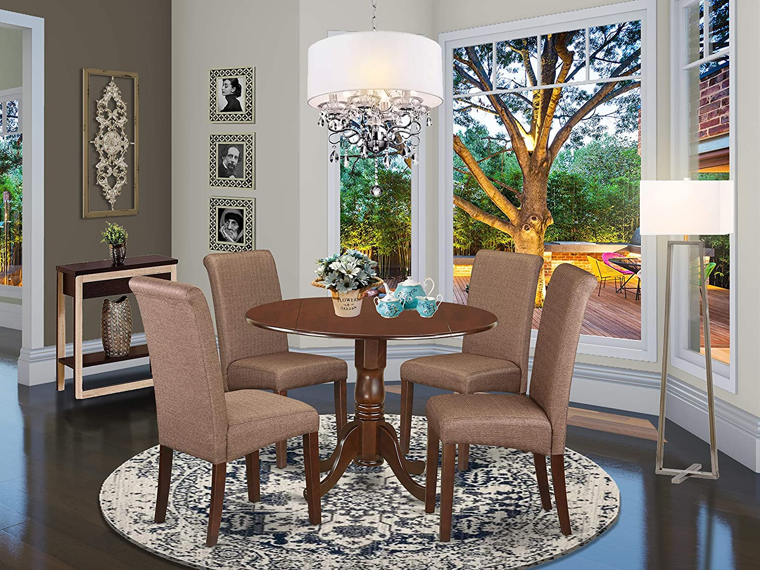 East West Furniture DLBA3-MAH-18 Wood Set 3 Pc-Brown Linen Fabric Chairs-Mahogany Finish Hardwood two 9-inch drop leaves Pedestal Dining Table and Structure 5