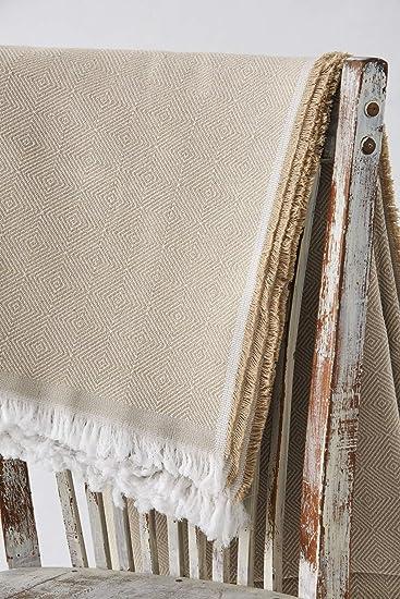 Textilhome Taille 180x285 cm Jet/é de lit ou Jet/é de canap/é Couleur Camel Couvre-lit por Canape /à Housse Dante