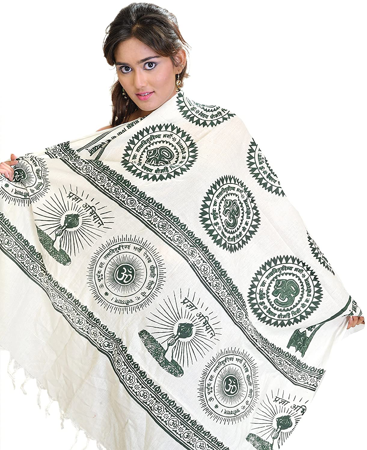 Exotic India Ivory and Green Gayatri Mantra Prayer Shawl - White SRB91