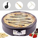 Duronic PM152 Crepera Eléctrica de 1500W con placa antiadherente de 37 cm – Temperatura regulable – Accesorios Incluidos - Ideal para hacer crêpes, pancakes, tortitas, tortillas, creps, panqueques