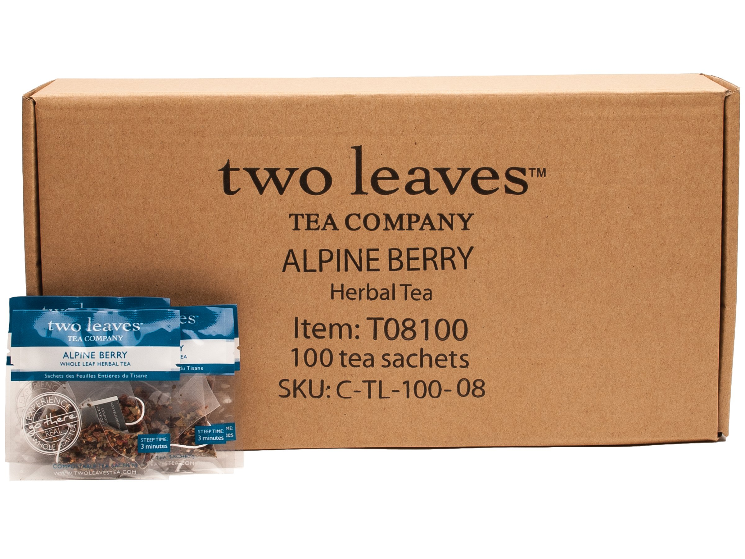 Two Leaves and a Bud Alpine Berry Herbal Tea Bags, 100 Count, Whole Leaf Caffeine Free Herbal Tea in Pyramid Sachet Bags, Delicious Hot or Iced with Milk, Sugar, Honey or Plain