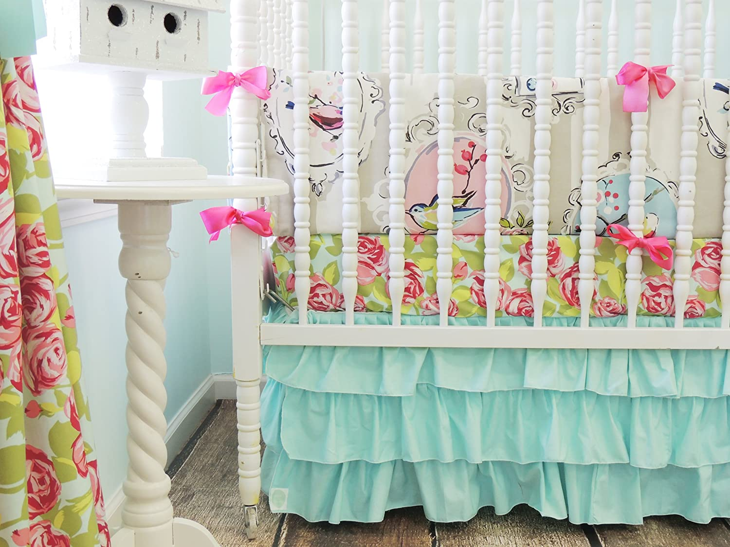 Tushies and Tantrums Boutique Birds with Floral Sheet and Aqua Skirt Crib Set by Tushies and Tantrums   B00JUR4LG8