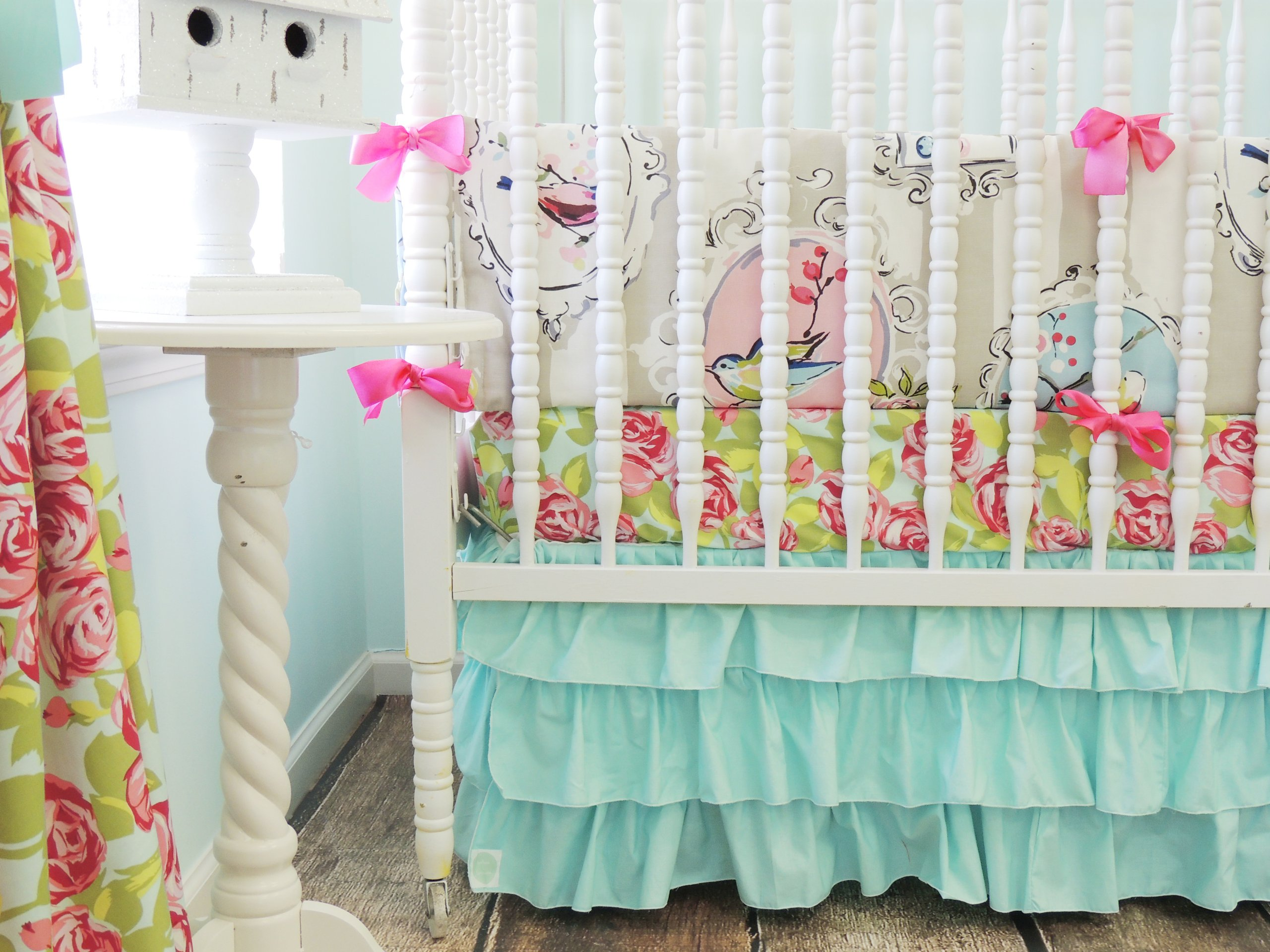 Tushies and Tantrums Boutique Birds with Floral Sheet and Aqua Skirt Crib Set by Tushies and Tantrums