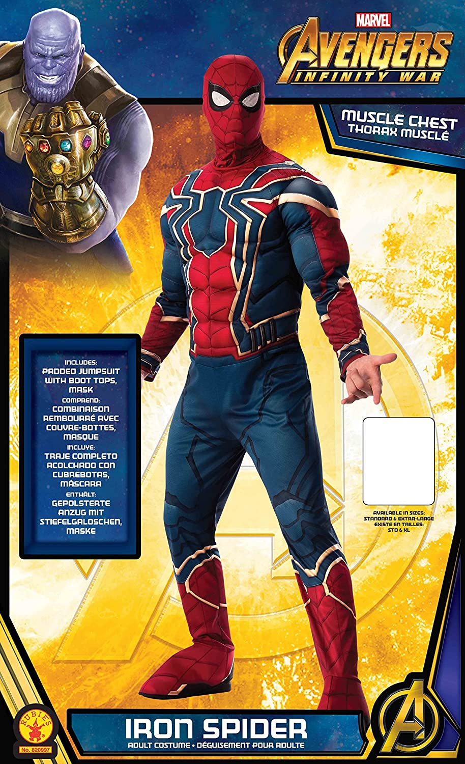 Amazon.com: Rubies Mens Marvel Avengers Infinity War Iron Spider-Man-Man Deluxe Costume, X-Large: Clothing