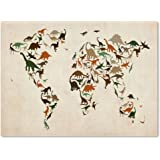 Dinosaur World Map 2 by Michael Tompsett work, 22 by 32-Inch Canvas Wall Art