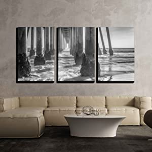"wall26 - 3 Piece Canvas Wall Art - A Black and White Shot Looking Out from Under The Huntington Beach Pier - Modern Home Decor Stretched and Framed Ready to Hang - 24""x36""x3 Panels"