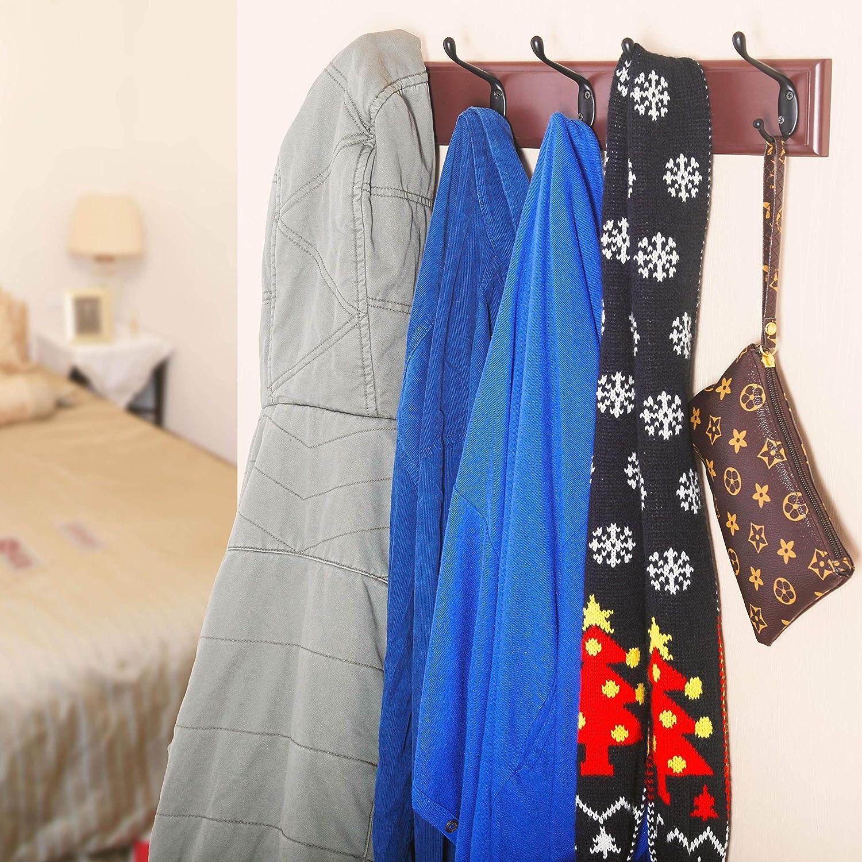 - Wood Board with 5 Double Metal Hooks Heavy Duty Vintage Rustic Coat Hook Rail for Coat Hat Towels Robes Keys Entryway Mudroom MU-TE-HBBG51 Black /& White Wall Mounted Coat Rack DIY
