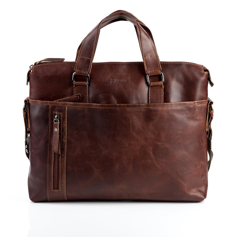 BACCINI Aktentasche LEANDRO - Laptoptasche groß fit für 15, 4 mit herausnehmbarer Schutzhülle- Businesstasche mit Schultergurt echt Leder braun-cognac