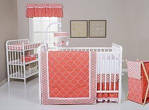 Trend Lab Shell 3 Piece Crib Bedding Set, Coral/White