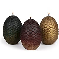 Game of Thrones Sculpted Dragon Egg Candles, Set of 3 - Perfect for GoT Fans - 2 1/2″ each
