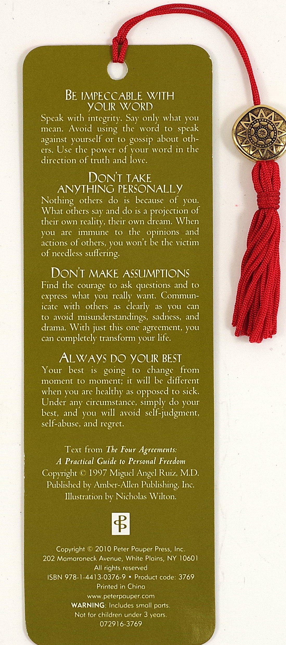 The Four Agreements Beaded Bookmark Don Miguel Ruiz 9781441303769
