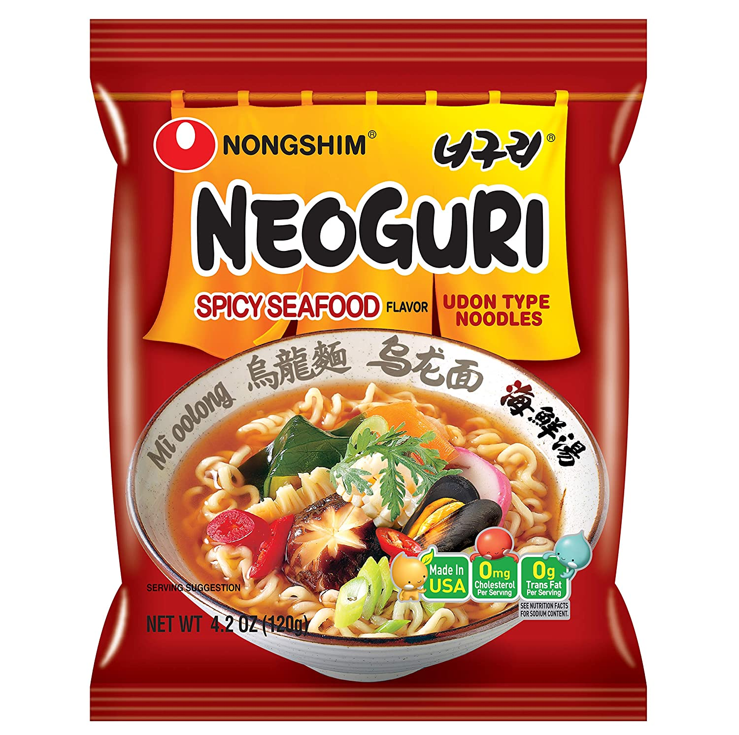 Nongshim Neoguri Noodles, Spicy Seafood, 4.2 Ounce (Pack of 10)