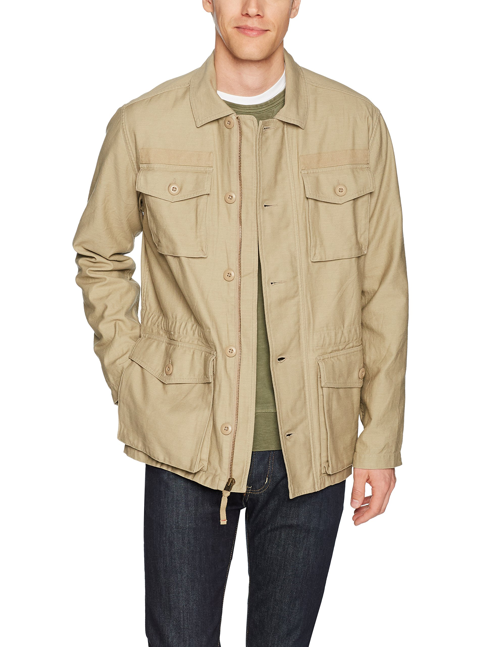 Goodthreads Men's 4-Pocket Military Jacket, New British Khaki, Medium by Goodthreads