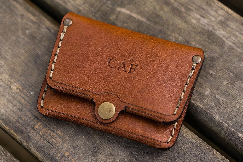 44b33b82198 Amazon.com  No.38 Personalized Minimalist Leather Wallet - Brown  Handmade