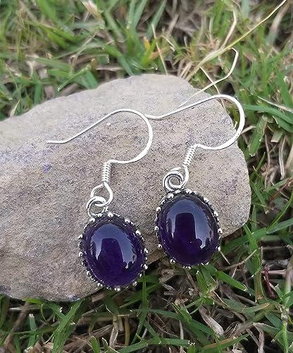 "1/"" Moonstone Amethyst Gemstone Pure 925 Sterling Silver Handmade Dangle Earring"