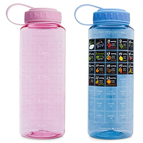 8869cb4e4fa BELLYBOTTLE Original Pregnancy Water Bottle Intake Tracker with Time Marker  and Weekly Calendar Stickers - Voted