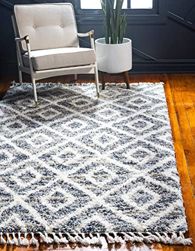 Unique Loom Hygge Shag Collection Geometric Lattice Plush Cozy Gray Area Rug 5 0 x 8 0