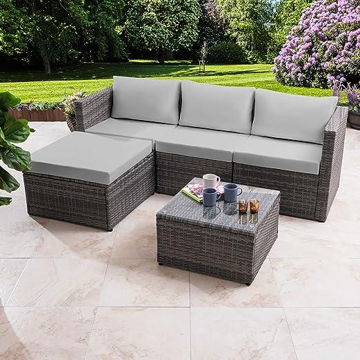 sofá en esquina de Ratán, conjunto de muebles de jardín, gris: Amazon.es: Jardín