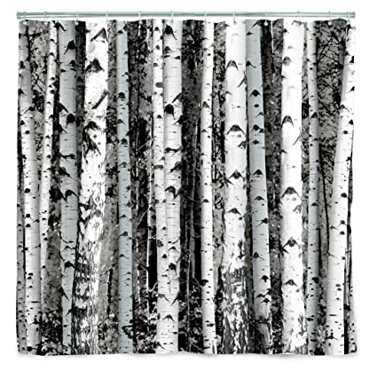 Amazoncom Kikkerland Shower Curtain Polyester Birch Home Kitchen