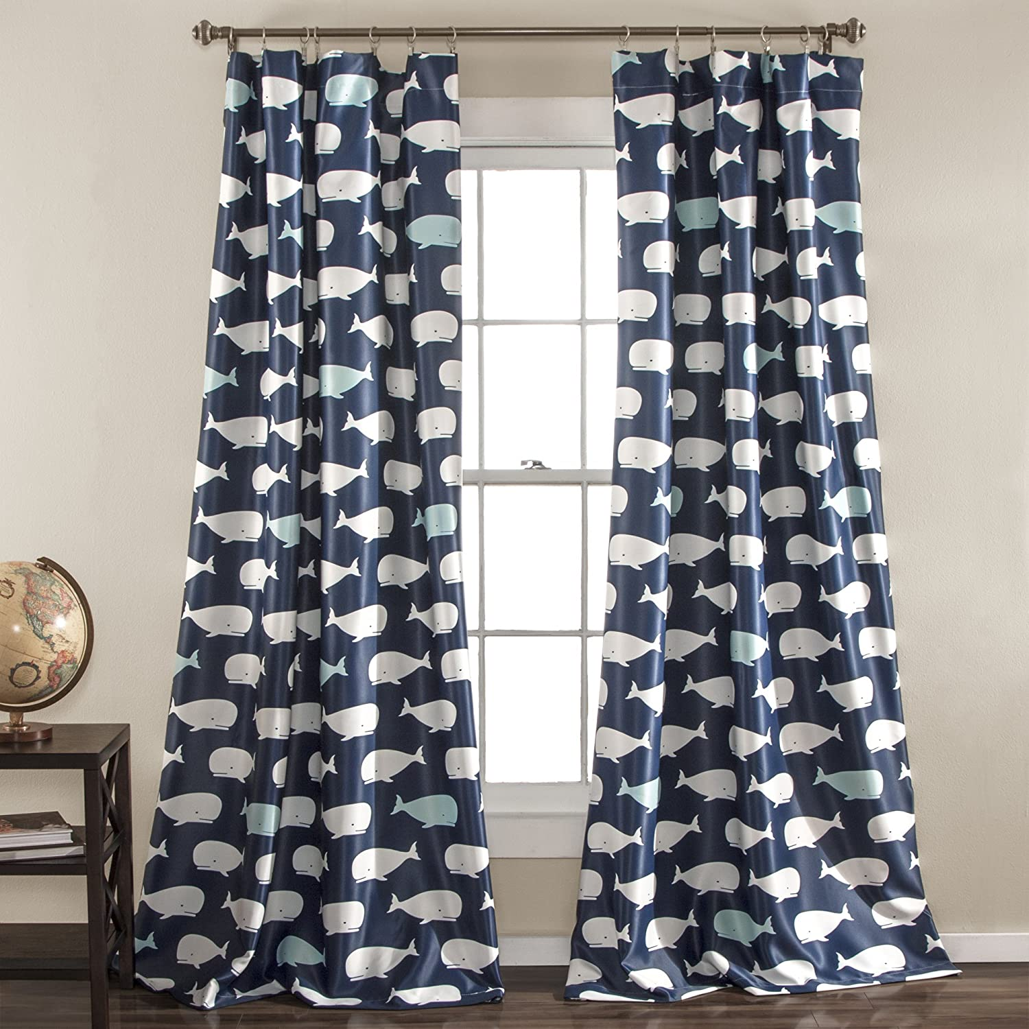 Lush Decor Navy Whale Curtains Animal Ocean Print Design Room Darkening Window Panel Set For Living Dining Bedroom Pair 84 X 52 84 X 52 Home Kitchen