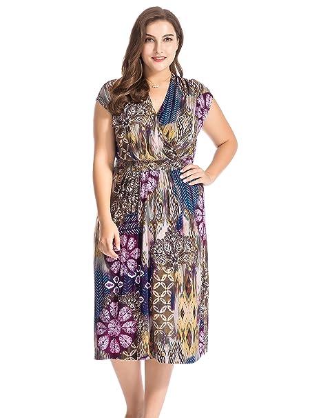 Chicwe Vestido Floral con Cinturón Tallas Grandes Mujeres Mangas del Casquillo Multicolor 54