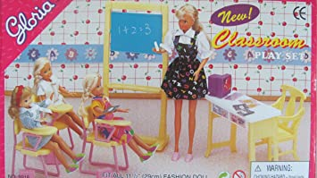 barbie size dollhouse furniture classroom chairs desk chalkboard amazoncom barbie size dollhouse