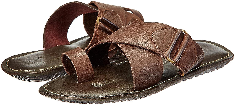 7d98805f548 ESTD.1977 Men s Brown Leather Flip Flops Thong Sandals - 10 UK India (44  EU)  Buy Online at Low Prices in India - Amazon.in