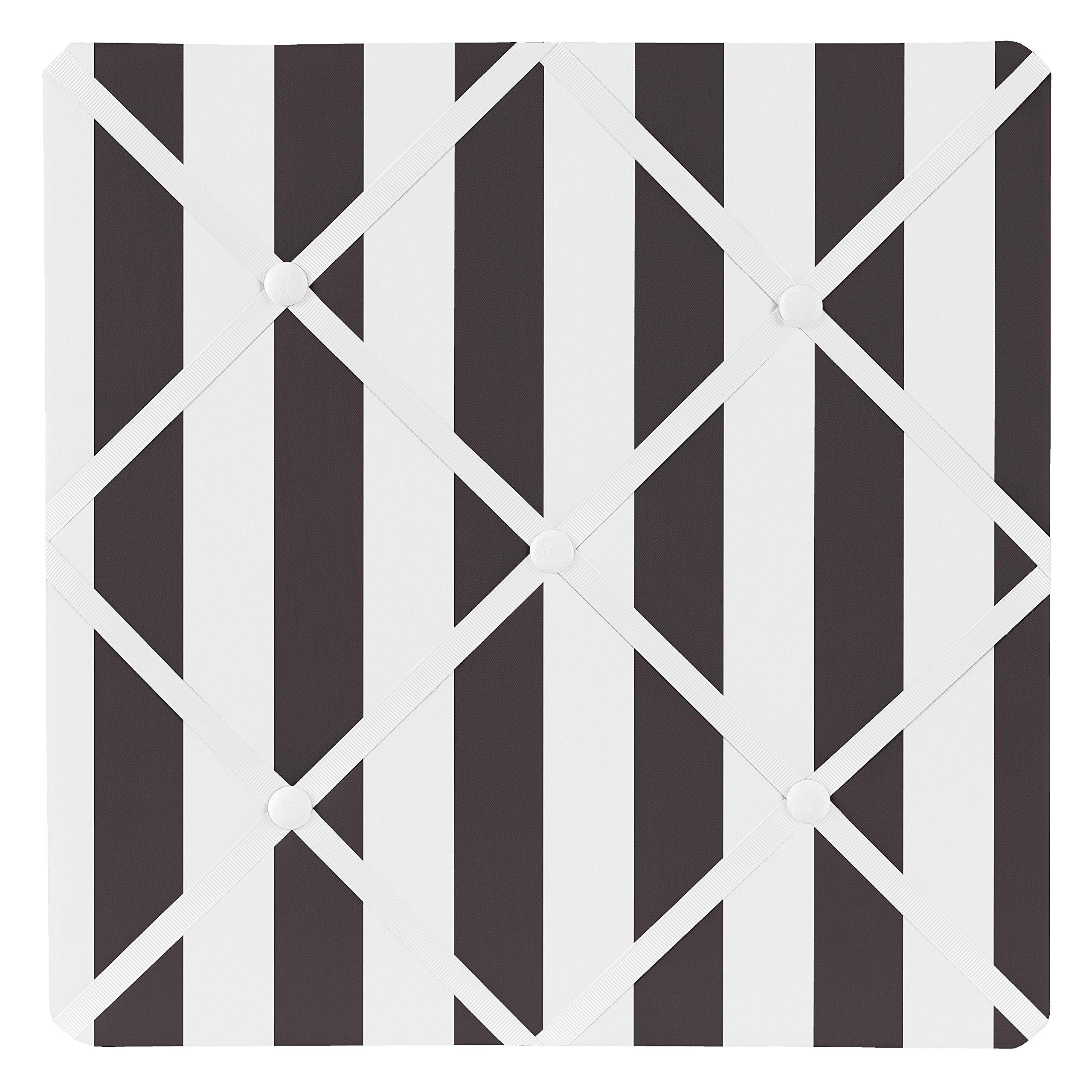 Sweet Jojo Designs Black and White Stripe Fabric Memory/Memo Photo Bulletin Board for Paris Collection