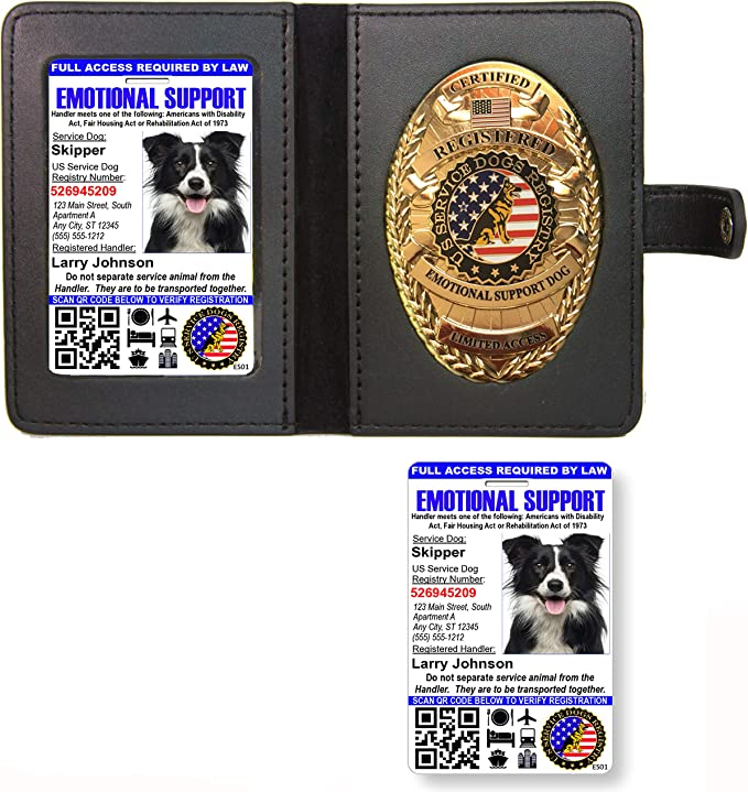Amazon Com Emotional Support Dog Badge Leather Wallet With 2 Custom Photo Id S Registration On Us Service Dog Registry Office Products