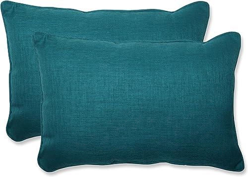 Pillow Perfect Outdoor Indoor Rave Teal Oversized Lumbar Pillows, 24.5 x 16.5 , Green, 2 Pack