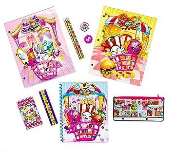 Shopkins School Supplies Bundle - 11 Piece Kit: 2 Laminated Folders, Spiral Notebook, Memo Pad, Eraser, Sharpener, Ruler, Pencil Pouch, 3 Pencils