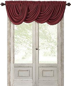 "Elrene Home Fashions All Seasons Room Darkening Rod Pocket Waterfall Window Valance, 52"" x 36"" (1, Red"