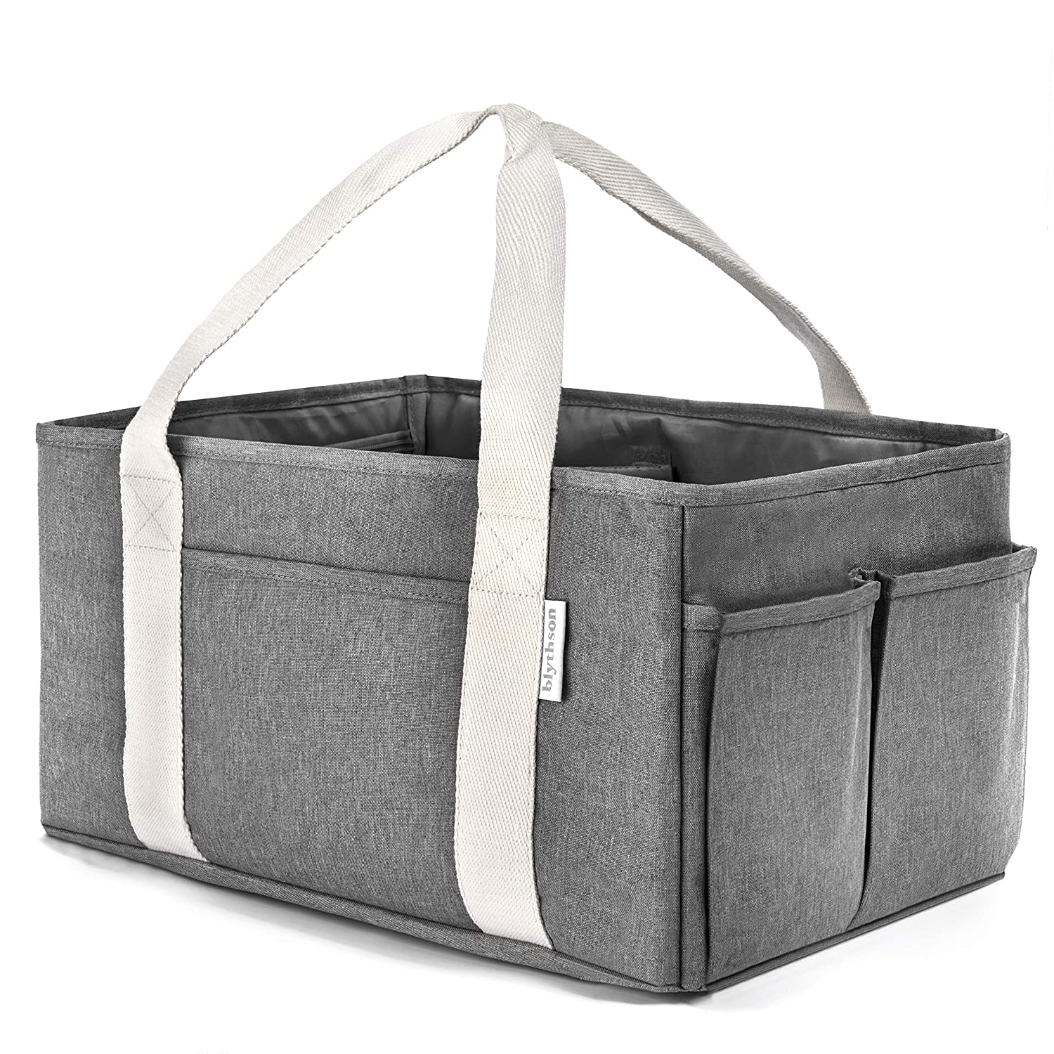 Large Baby Diaper Caddy Organizer, Grey, with Multiple Pockets & Compartments :: Collapsible, Portable Holder with Handle for Nursery, Unisex for Boys & Girls :: Durable, Easy to Clean Cloth Blythson