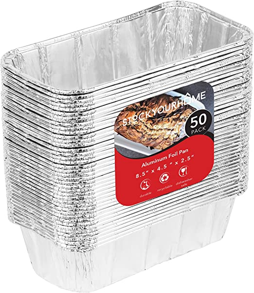 50 Pack 3 Lb Aluminum Foil Loaf Pan Disposable Bread Container Pastry Baking Tin