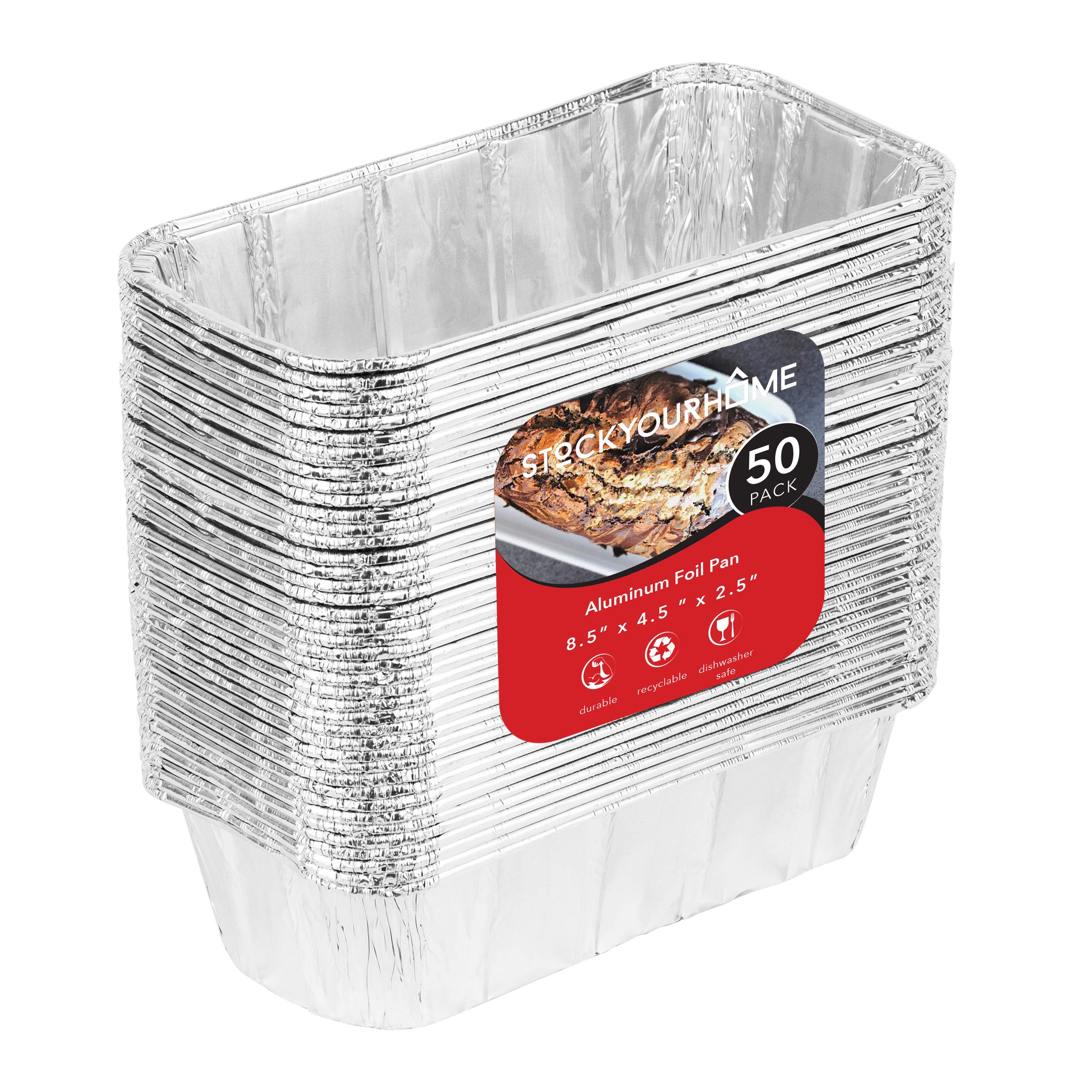 Aluminum Pans for Bread Loaf Baking (50 Pack) 8x4 Aluminum Foil Loaf Pan - 2 Lb Bread Tins, Standard Size, Compatible with Roadpro 12 Volt Portable Stove - Perfect for Baking Cakes, Meatloaf, Lasagna by Stock Your Home